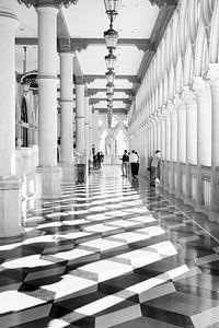 Architectuur hotel Venetian Las Vegas in zwartwit. Hotel Venetian las Vegas in black ans white