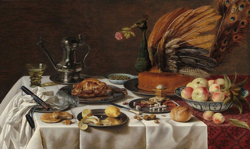 Stillleben mit Pfau von Pieter Claesz von Hollandse Meesters