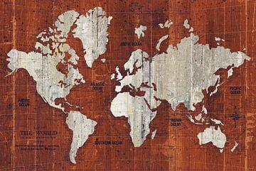 Oude wereldkaart roest, Wild Apple Portfolio van Wild Apple