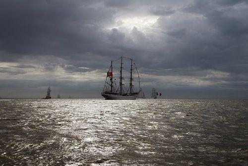 Zeilschip uitvarende naar zee von Mart Marbus