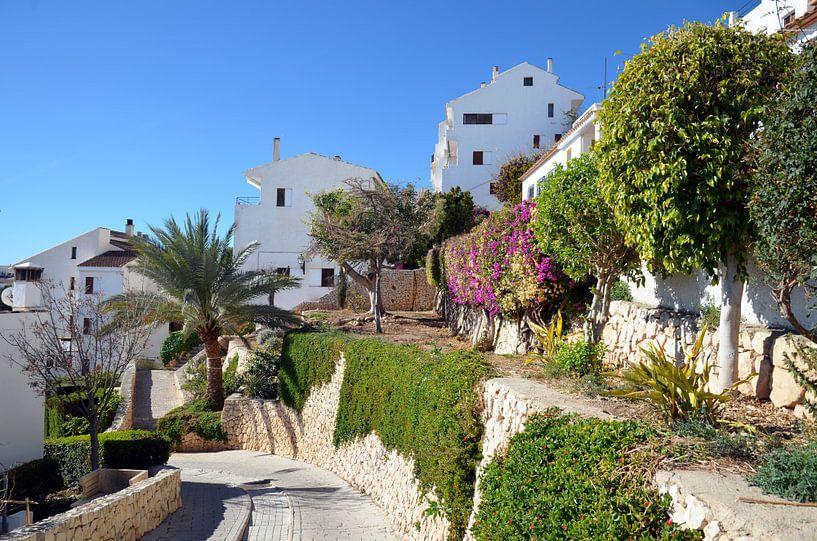 Buitenwijk van Altea met witte villa's met weelderige begroeiing tegen een heuvel van Gert Bunt