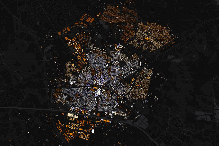 Kaart van Hengelo abstract van Stef Verdonk