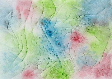 Aquarell mit Farbkleckse, Farbspritzern und Streifen in Rot, Grün und Blau von Heike Rau