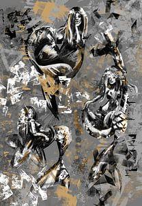 Straßenkunst - Meerjungfrauen im Graffiti-Stil von Wanddecoratie