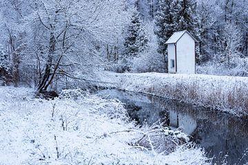 Winterlandschap bij de Hechtgraben in Rostock Gehlsdorf van Rico Ködder