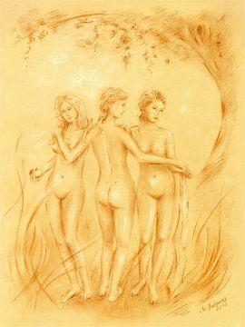 Die drei Grazien - erotische mythologische Zeichnungen von Marita Zacharias