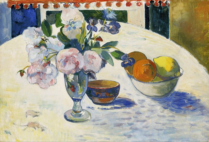 Paul Gauguin. Flowers and a Bowl of Fruit on a Table van 1000 Schilderijen