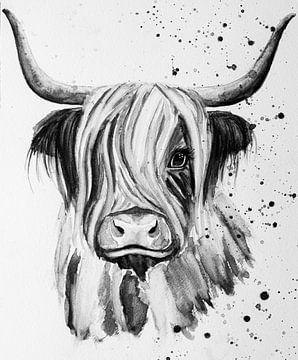 Belle aquarelle en noir et blanc d'un Highlander écossais à cornes sur Bianca ter Riet