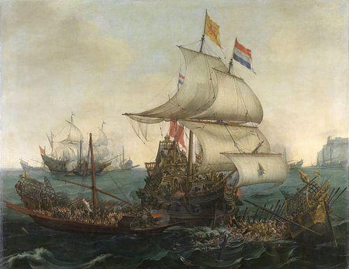 Noord-Nederlandse schepen rammen Spaanse galeien 1617 van Hollandse Meesters