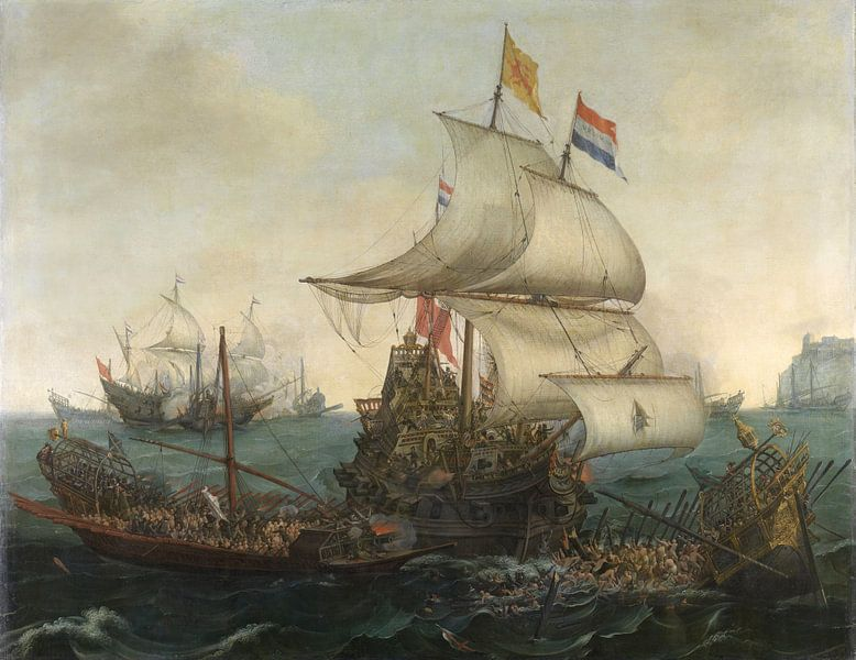 Holländische Schiffe rammen die spanischen Galeeren 1617 - Hendrik Cornelisz von Hollandse Meesters