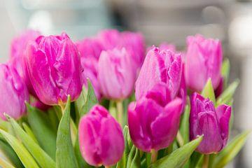 Blumenstrauß rosa Tulpen von Wim Stolwerk