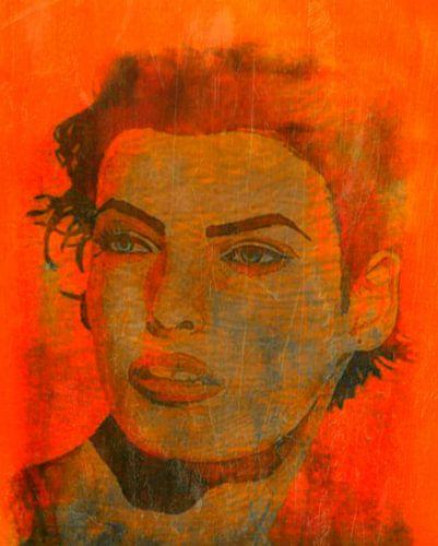 Linda Evangelista Orange Pop Art