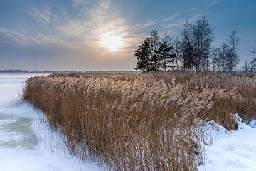 Winter on a lake with sunset van Rico Ködder