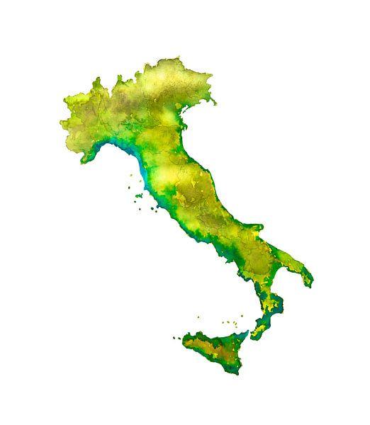 Italië | Landkaart in Aquarel | Ook als Wandcirkel van Wereldkaarten.Shop