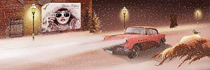 Wintertijd in retro stijl met vintage auto.