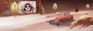 Wintertijd in retro stijl met vintage auto. van Monika Jüngling
