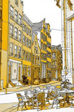 Pentekening Gouden Noordermarkt Tekening Amsterdam Lijntekening van Hendrik-Jan Kornelis