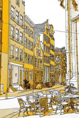Gouden Noordermarkt Tekening Amsterdam van Hendrik-Jan Kornelis