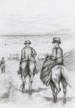 Naar het strand met de paarden. van Ineke de Rijk