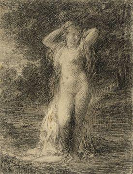 Stehender Frauenakt in einer Waldlandschaft mit Wasser, Henri Fantin-Latour von Atelier Liesjes
