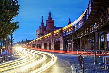 Zwaar verkeer op de Oberbaumbrücke