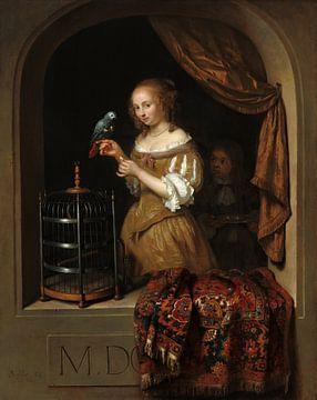 Jeune femme à la fenêtre nourrissant un perroquet, Caspar Netscher sur