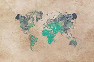 wereldkaart groen beige #kaart van JBJart Justyna Jaszke
