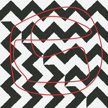 Abstrakte Linien in Schwarz-Weiß-Rot von Maurice Dawson