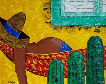 Siesta - Straßenmalerei Mexiko von Ilia Berends