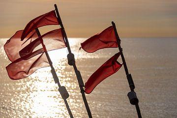Meerblick mit roten Flaggen von Stephan Schulz