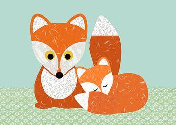 Fuchs mit Baby Fuchs von Green Nest