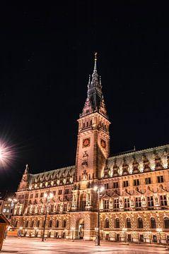 Hamburger Rathaus bei Nacht von UniQaps