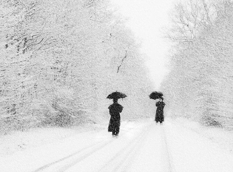 Paraplu in de sneeuw