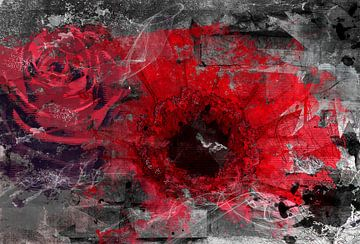 Ein modernes Bild von roten Blumen. von Nannie van der Wal