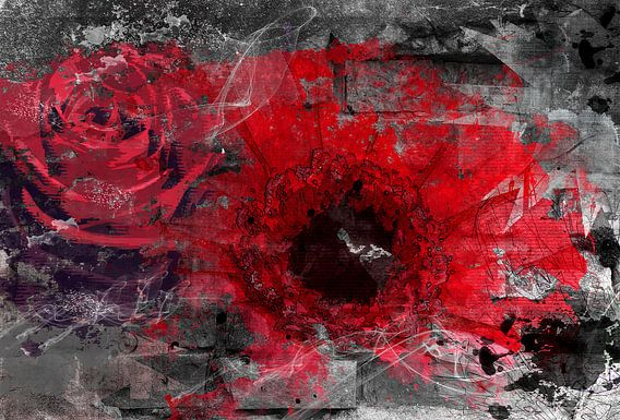 Rode bloemen van Nannie van der Wal