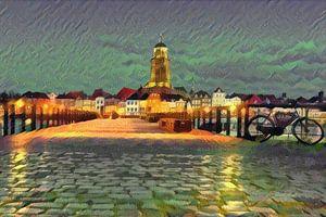 Romantisch schilderij van de skyline van Deventer, vanaf de andere kant van de IJssel