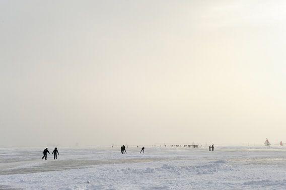 Schaatsers en ijszeilers op de Gouwzee van Merijn van der Vliet