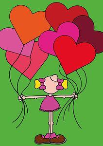 Meisje met ballonnen - kinderkamer