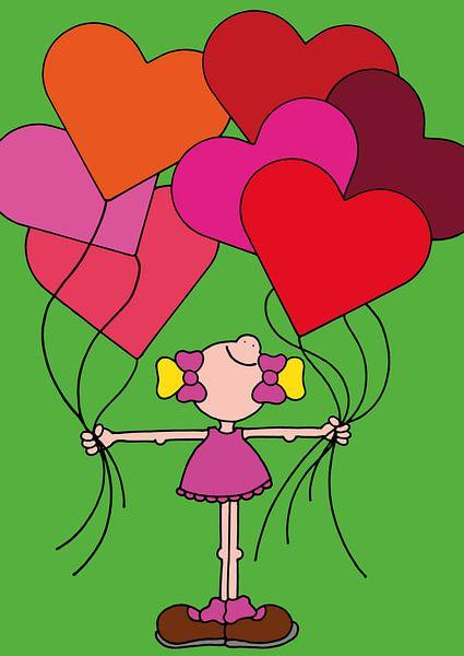 Meisje met ballonnen - kinderkamer van Annemarie Broeders