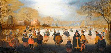 Winterlandschaft mit Schlittschuhläufern, Adam van Breen