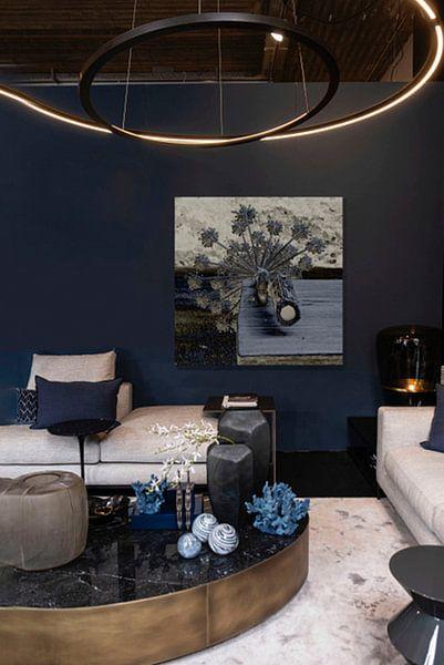 Klantfoto: Reuzen berenklauw in blauw van Affect Fotografie, op aluminium