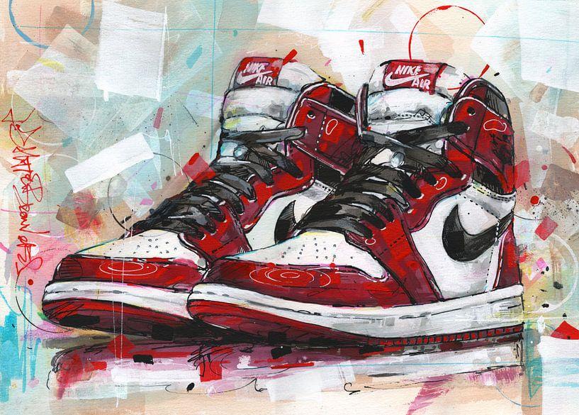 Nike Air Jordan Retro 1 Chicago Malerei von Jos Hoppenbrouwers