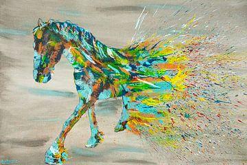 Peinture de cheval frison sur Kim van Beveren