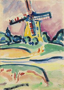 Windmühle (Eine Windmühle auf Fehmarn), ERNST LUDWIG KIRCHNER, Um 1908