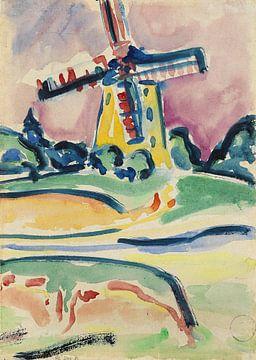 Windmühle (Eine Windmühle auf Fehmarn), ERNST LUDWIG KIRCHNER, Um 1908 von Atelier Liesjes