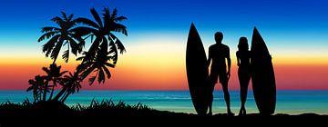 Love is Surfing Together van Harry Hadders