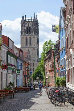 Überwasserkirche und Alte Häuser im Kuhviertel, Münster in Westfalen, Nordrhein-Westfalen,  Deutschl
