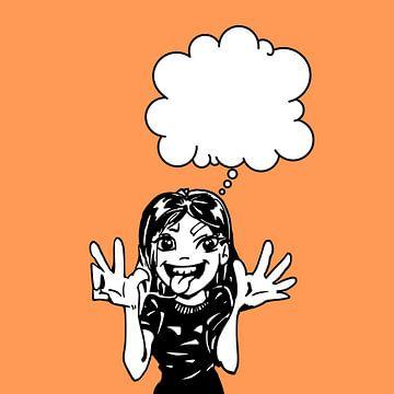 Cartoon Mädchen mit denken Wolke von Emiel de Lange