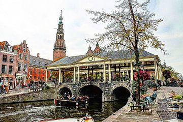 Koornbrug Leiden met stadhuis op de achtergrond van Hendrik-Jan Kornelis