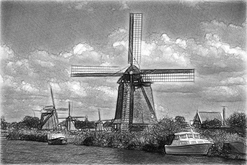 Les moulins, l'eau et les bateaux sur Mike Bing